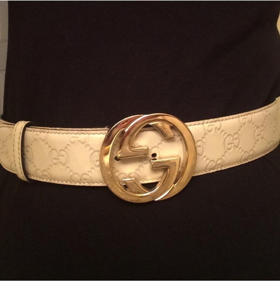 cbf6d8ad9d9 Gucci Cream Gucissima Interlocking G Buckle Belt - Tradesy