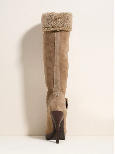 Guess Ski Bunny Stilletto Fashion Fashionista Mid Tall Hallelujah The Heat Is Over Leather Suede Soft Sex Appeal Slim Tan Platforms