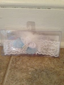 David's Bridal White and Blue Garter Belt