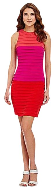 Preload https://item1.tradesy.com/images/london-times-bright-red-fuschia-and-orange-colorblock-bandage-fitted-short-workoffice-dress-size-10--5162350-0-4.jpg?width=400&height=650
