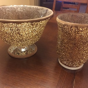 5 Bowls And 4 Small Vases - Wedding Centerpieces