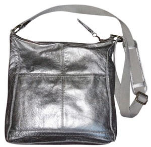The Sak Metallic Crossbody Boho Silver Messenger Bag