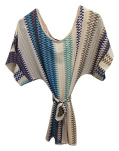 Karina Grimaldi short dress Multi color- cream and blue on Tradesy