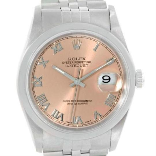 Rolex Rolex Datejust Mens Stainless Steel Salmon Dial Watch 16200