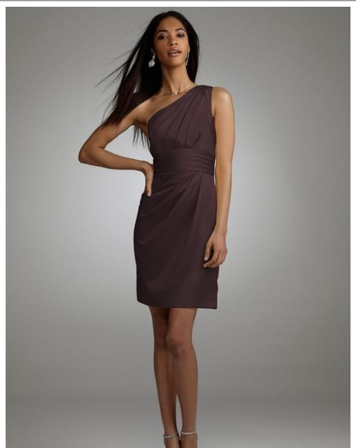Item - Brown Satin One Shoulder Pleated Bodice (Styl Formal Bridesmaid/Mob Dress Size 8 (M)