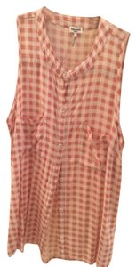 Splendid Button Down Shirt Peach and White