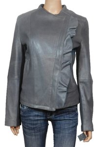 Tahari Leather Gray Leather Jacket