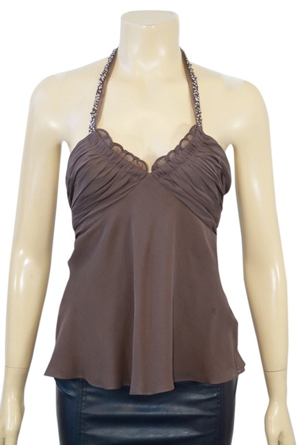 Preload https://item4.tradesy.com/images/bcbgmaxazria-brown-100silk-halter-neck-night-out-top-size-10-m-5163448-0-1.jpg?width=400&height=650