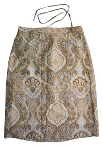 Banana Republic Paisley Silk 70s Work Skirt Beige