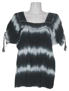 ECI New York Petite Peasant Dyed Black And White Top Multi