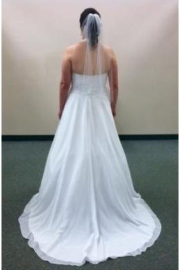 David's Bridal White Chiffon 3260 Destination Wedding Dress Size 12 (L)
