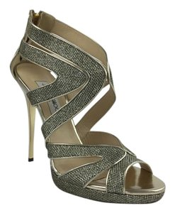 Jimmy Choo Platform Strappy Gold Bronze Sandals