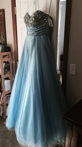 David's Bridal Light Blue/multi Bridesmaid Or Prom Dress Dress