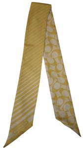 Coach COACH YELLOW and WHITE PONY TAIL SCARF
