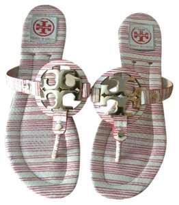 Tory Burch Red and cream piano stripe Sandals