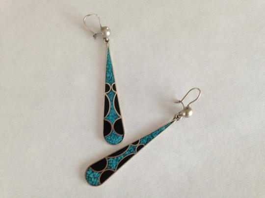 Other Vintage Inlaid Turquoise & Onyx Drop Earrings