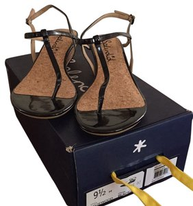 Splendid T Strap Patent Wedge Low Simple Anthropologie Black Cork Sandals