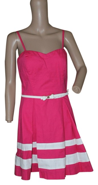 Preload https://item1.tradesy.com/images/guess-bright-pink-and-white-pleated-fit-flare-short-casual-dress-size-8-m-5165710-0-0.jpg?width=400&height=650