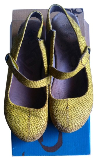 OTBT Mary Jane Wedge Suede Comfortable Work Yellow Flats
