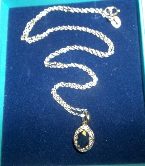 """Other 1Ct. Genuine Sapphire & Diamond Pendant w/ 18"""" .925 Sterling Silver Necklace"""