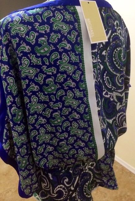 Michael Kors Mk Shirt Tunic Batwing Kimono Short Sleeve Paisley Stretch Waist Designer Fashion Style Feminine Elegant Women Top Blue White Green