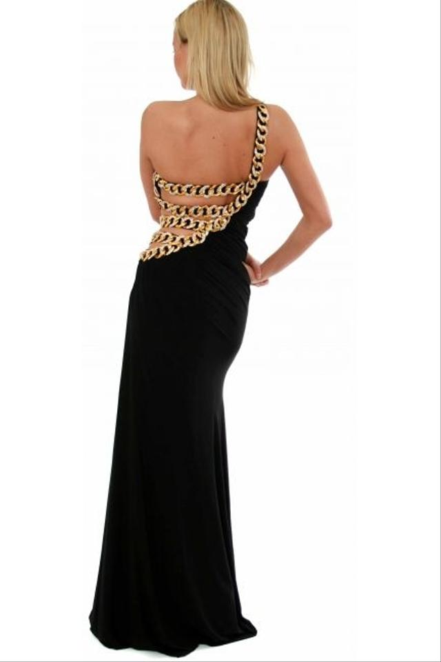 Jovani Black Gown - One Shoulder Gold Chain Goddess Style Long ...
