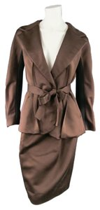 Lanvin LANVIN Size 8 Copper/Black Satin Skirt Suit