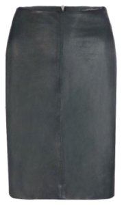 AllSaints Leather Pencil Leather Genuine Leather Unique Skirt Green