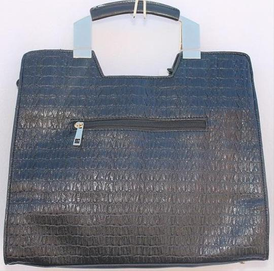 Luxcessories Blue Face Faux Leather Brand New Vintage Hand Hobo Bag