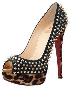 Christian Louboutin Redbottoms Platforms Gifts For Her Cocktail Black with Leopard print Pumps