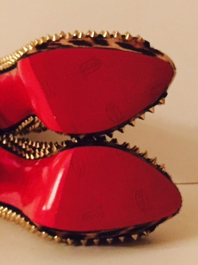 Christian Louboutin Redbottoms Platforms Spiked Gifts For Her Cocktail Black with Leopard print Pumps