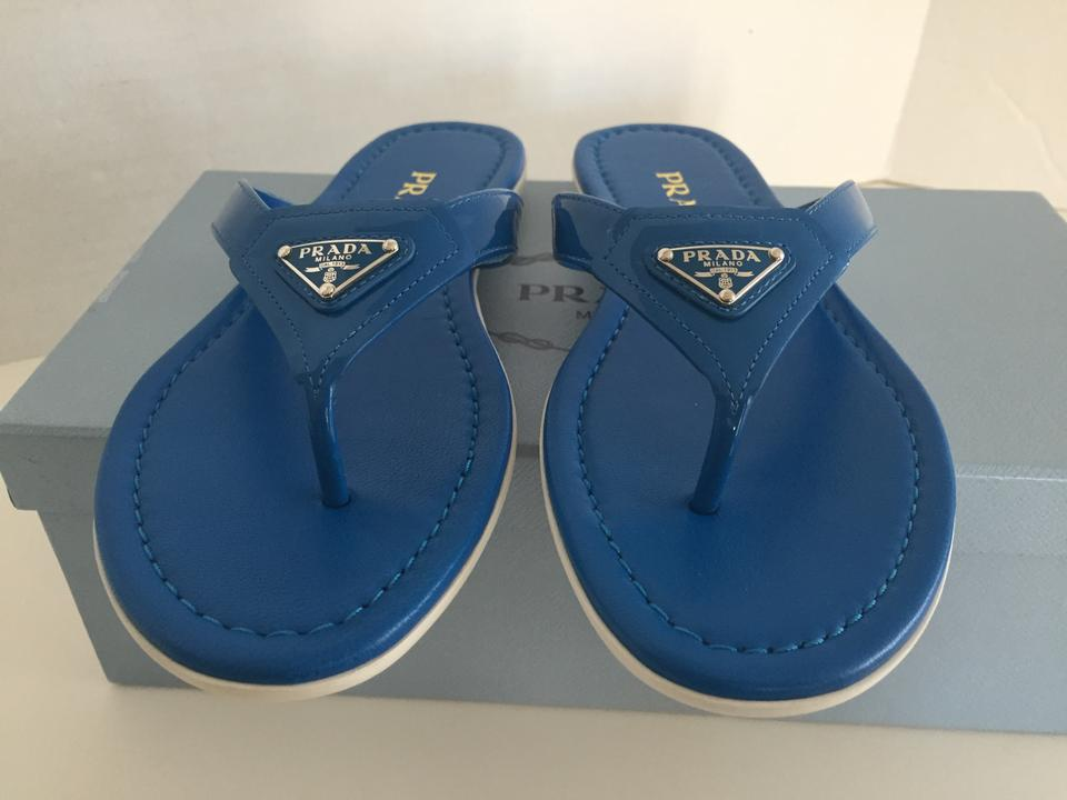 authentic prada backpacks - Prada Logo Thong Patent Flip Flops Marea Blue Sandals on Sale, 38 ...