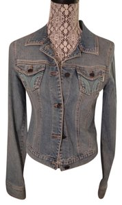 Hollister Embroidered Preppy Sport Retro Denim Womens Jean Jacket