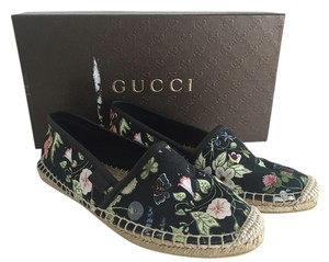 Gucci Canvas Flora Knight Mini Nero Flats