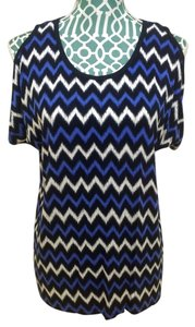 Michael Kors Mk Blouse Women Ladies Casual Chic Zag T Shirt Blue and White