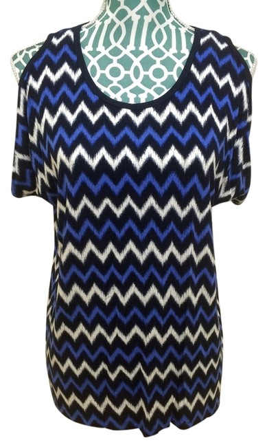 Preload https://item4.tradesy.com/images/michael-kors-blue-and-white-zig-zag-oxford-tee-shirt-size-4-s-5167423-0-0.jpg?width=400&height=650