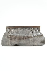 Giorgio Armani Grey Gray Silver Palladium Dust Frame Handbag Satchel Python Python Evening Grey Snakeskin Clutch