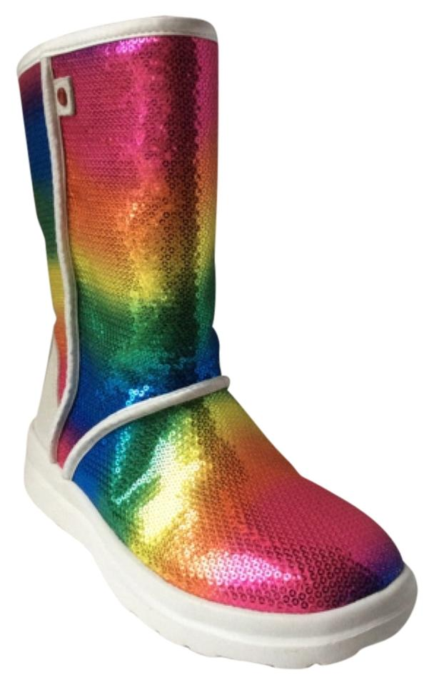 6cf6a3fe120 UGG Australia Multi Rainbow Colors I Heart Kisses Sparkles Boots/Booties  Size US 7 Regular (M, B)