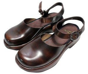 Dansko Mary Jane Ankle Strap Leather Brown Platforms