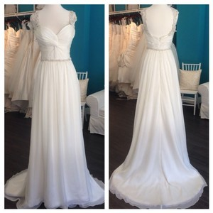 Modern Trousseau Teagan Embroidered Strap Gown With Ruched Knot Bodice Wedding Dress