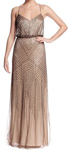Adrianna Papell Beaded Art Deco Gown Dress