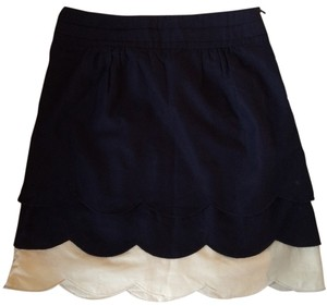 Anthropologie Scalloped Mini Mini Skirt Navy