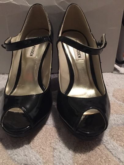 Steve Madden Patent Patent Leather Mary Jane Stiletto Black Pumps