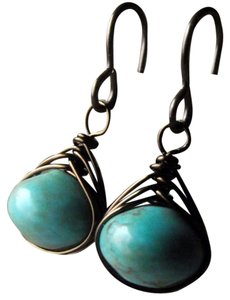 Forest Lily Designs Turquoise Wire Wrapped Earrings Handmade