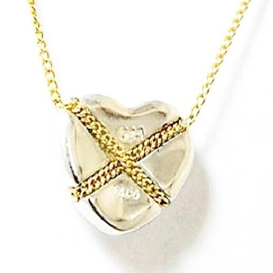 Tiffany & Co. Authentic Tiffany & Co. Sterling Silver & 18K Gold Heart Criss Cross Pendant Necklace
