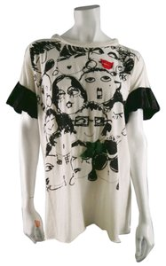 Lanvin Ruffle Graphic Oversized Drape Casual T Shirt White