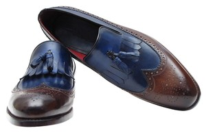 PAUL PARKMAN Custom Made Navy and Brown Flats