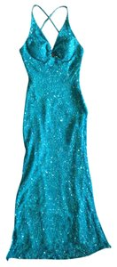 Scala Sequins Beaded Silk Turquiose Dress