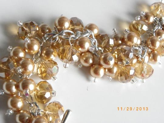 Handmade gold pearl crystal glass Cluster bracelet, bridesmaid bracelet, gold Pearl Beaded Bracelet, Bridesmaid
