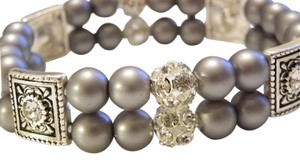 gray pearl rhinestone bracelet, bridal pearl bracelet, bridesmaid jewelry, weddings jewelry, pearl bracelet